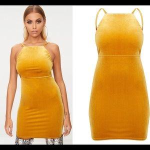 Mustard Velvet Strappy Tie Back Size 10 Dress NWT